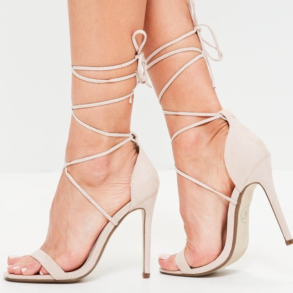 f7866f36bb Missguided Shoes | Lace Up Barely There Heeled Sandal Nude | Poshmark
